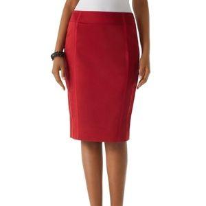 WHBM Auburn Grossgrain Trimmed Pencil Skirt